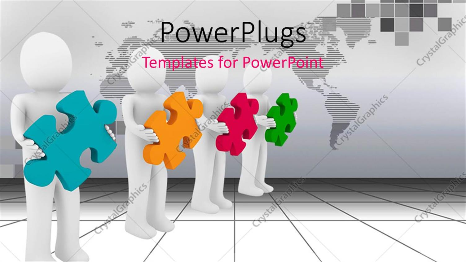PowerPoint Template Displaying Men Confused with Different Color of Puzzles as how to Form them Together