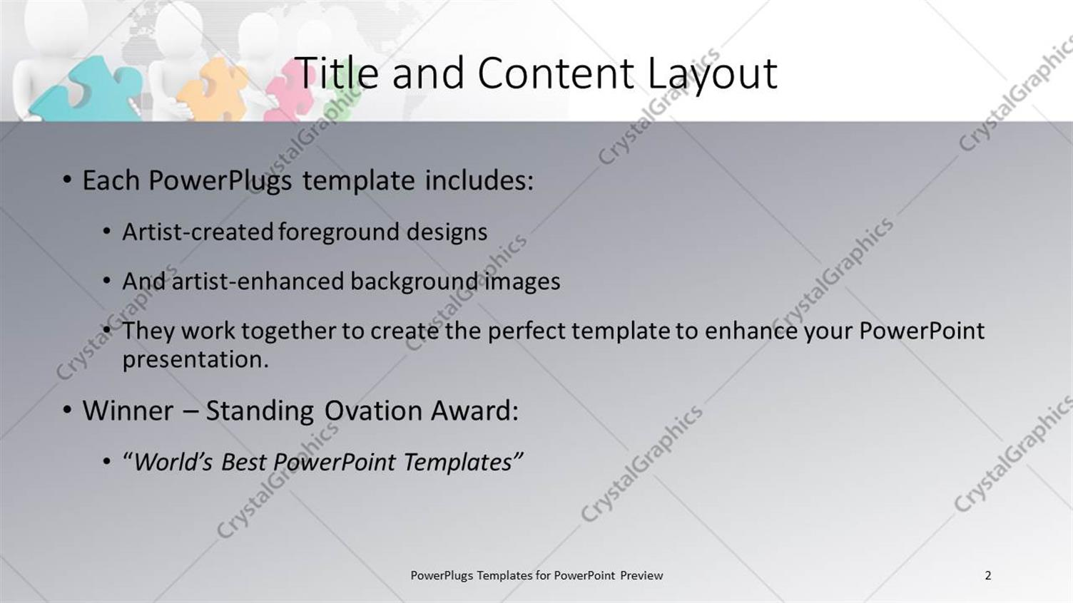 PowerPoint Template: men confused with different color of puzzles as ...