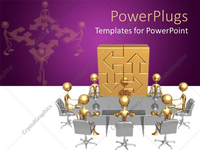 PowerPoint Template: men having round table business