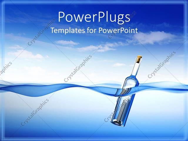powerpoint template message in bottle floating in the water on