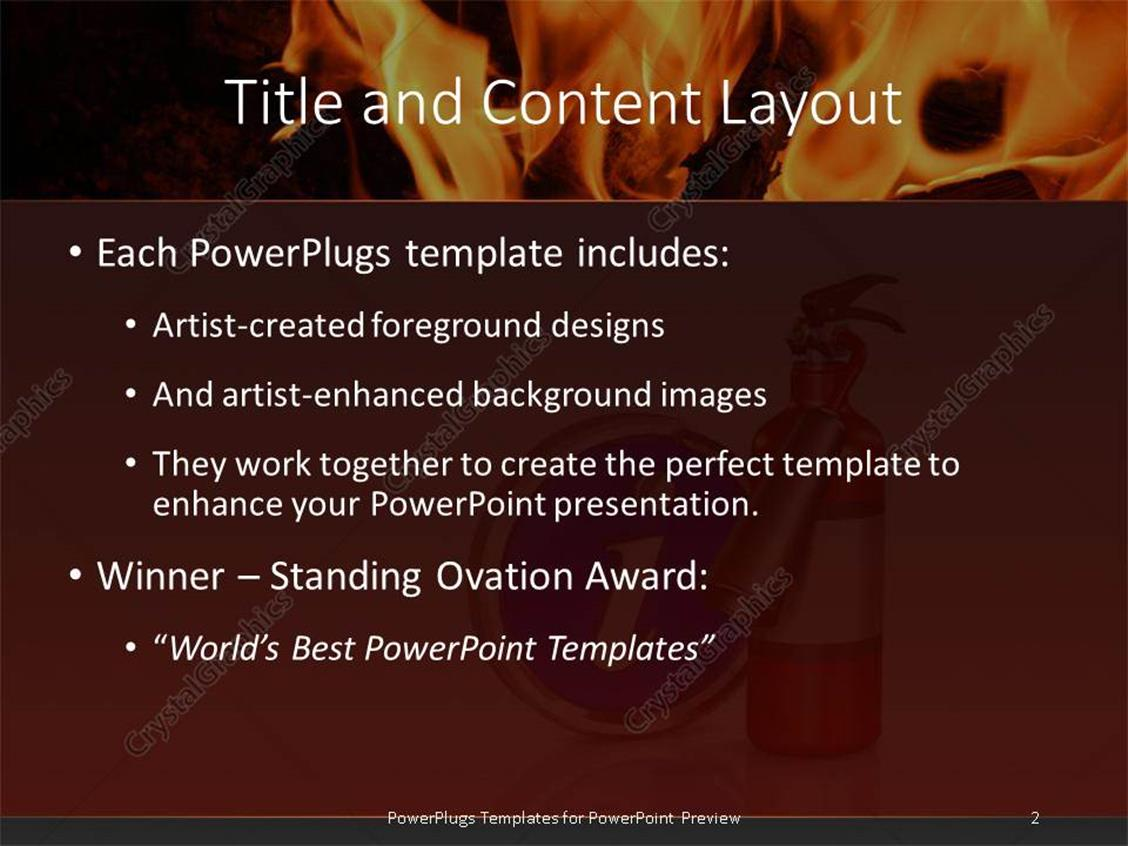 Powerpoint template metallic fire extinguisher with large powerpoint products templates secure standing ovation award toneelgroepblik Images