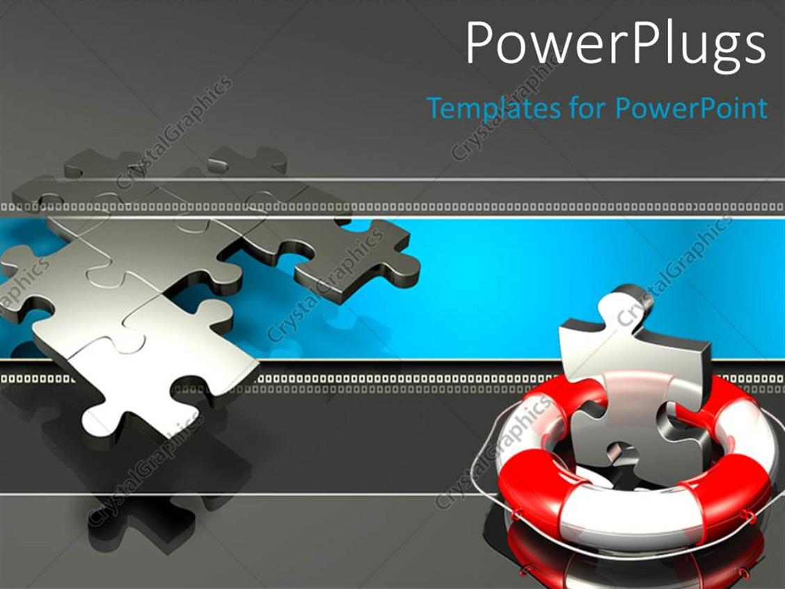 PowerPoint Template: metallic puzzle piece with lifebuoy, with ...
