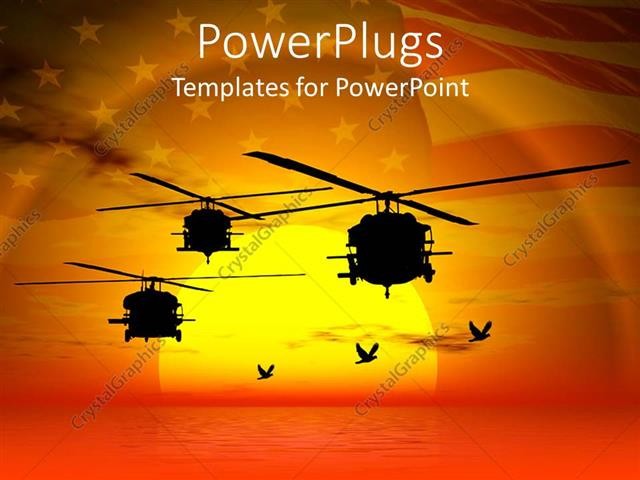 Powerpoint Template Military Helicopters Flying Over Sea Sunset Sky