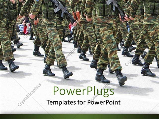Powerpoint Template Military Parade Background Depicting Soldiers
