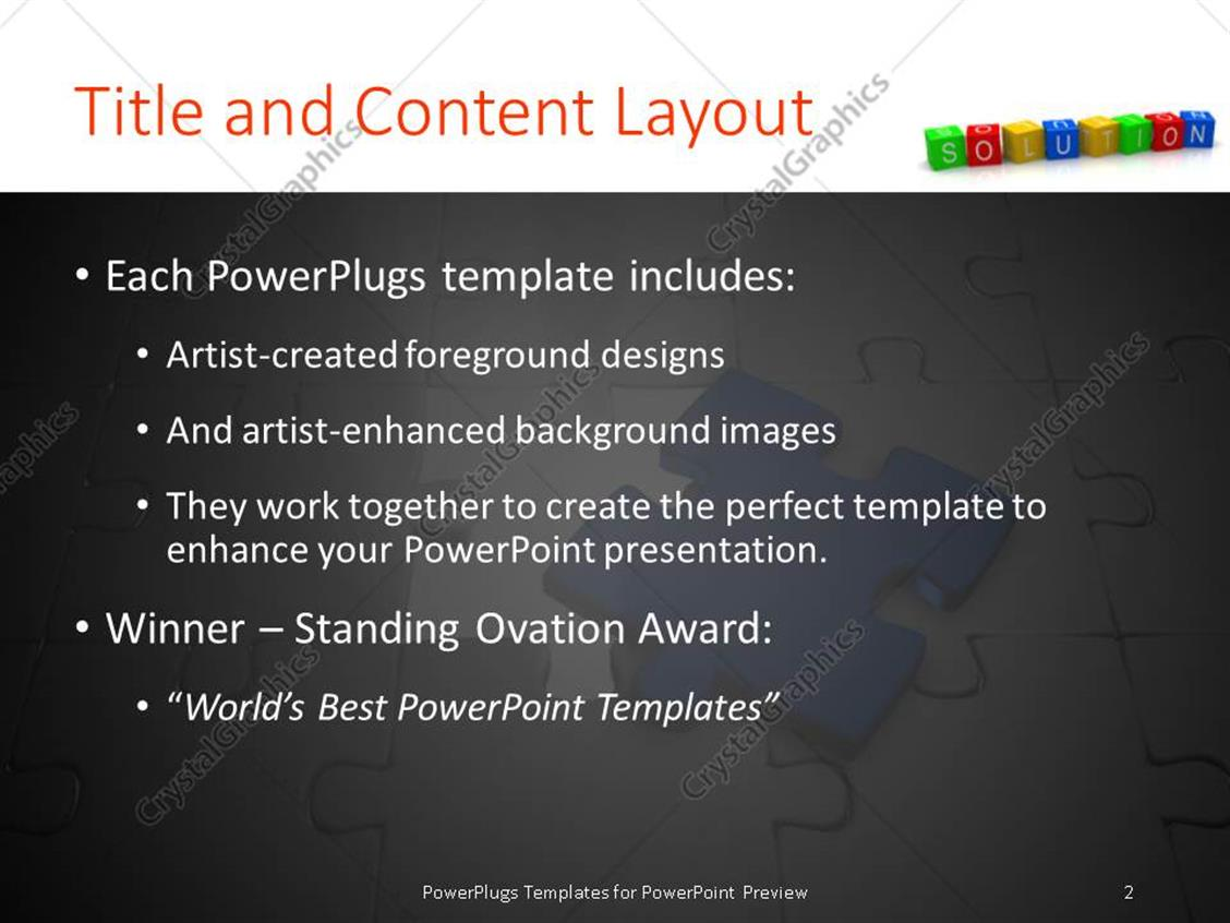 PowerPoint Template: Missing blue jigsaw puzzle piece with 3D ...