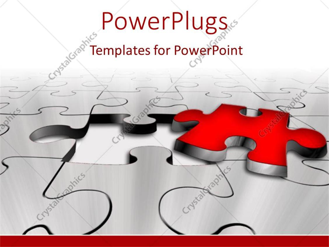 PowerPoint Template: missing red puzzle piece problem solution key ...