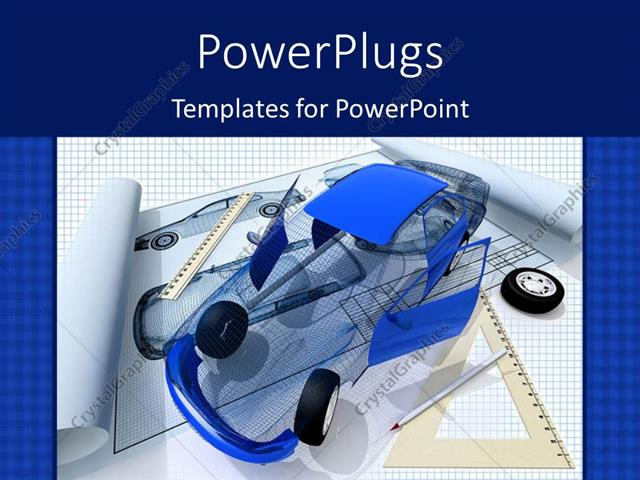 Powerpoint template model of the car and blueprint with blue color powerpoint template displaying model of the car and blueprint with blue color texture malvernweather Images