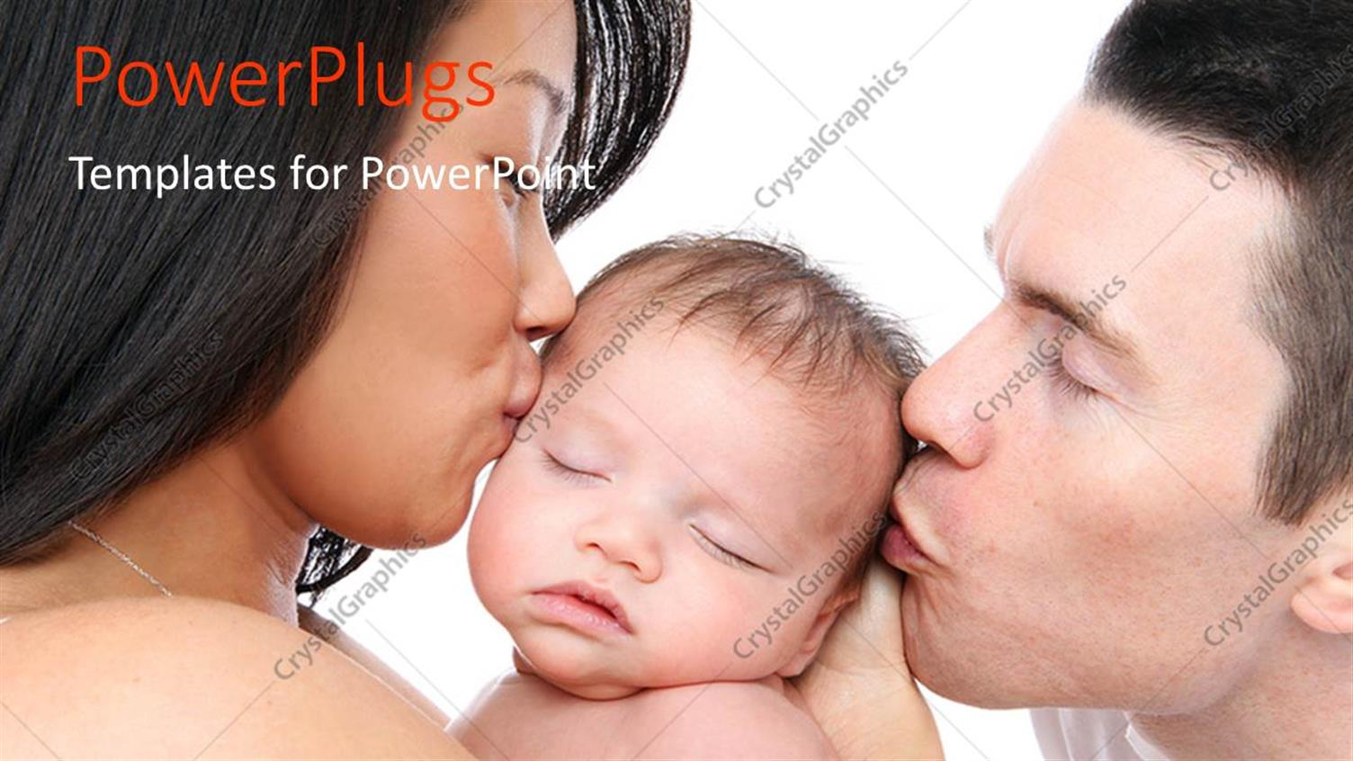 PowerPoint Template Displaying a Family with White Background and Place for Text