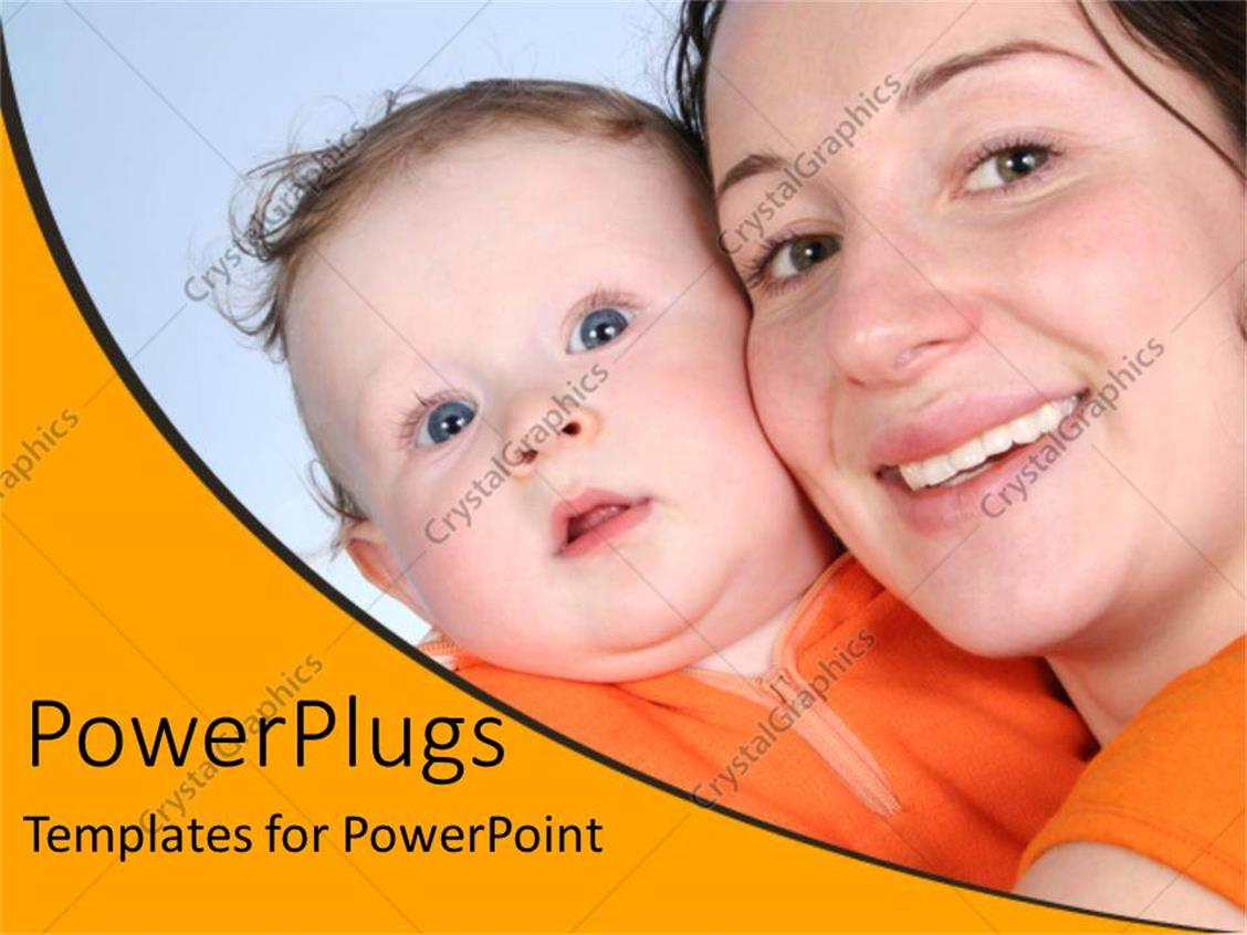 PowerPoint Template Displaying Mother and Baby Happy Smiling, Orange Wave Border