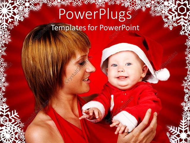 PowerPoint Template Displaying a Mother and her Baby Wearing a Christmas Cap
