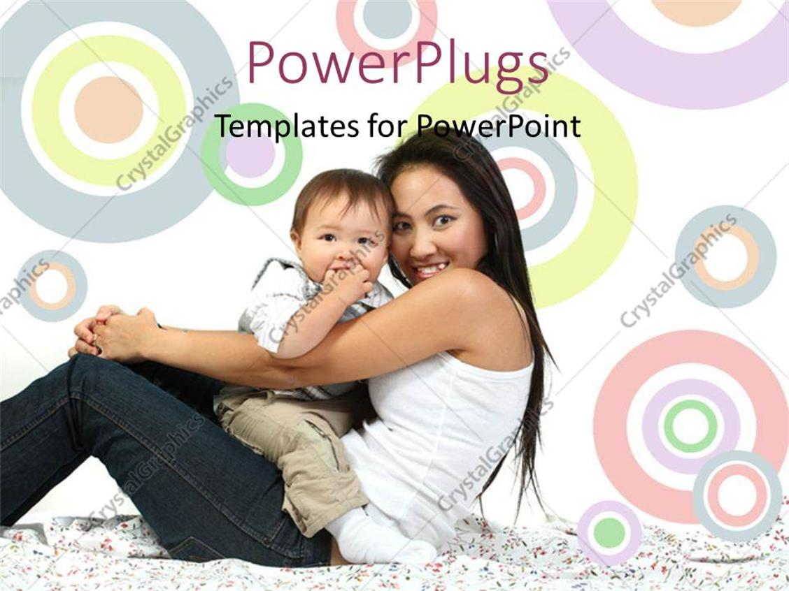 PowerPoint Template Displaying a Mother with her Child and Colorful Background