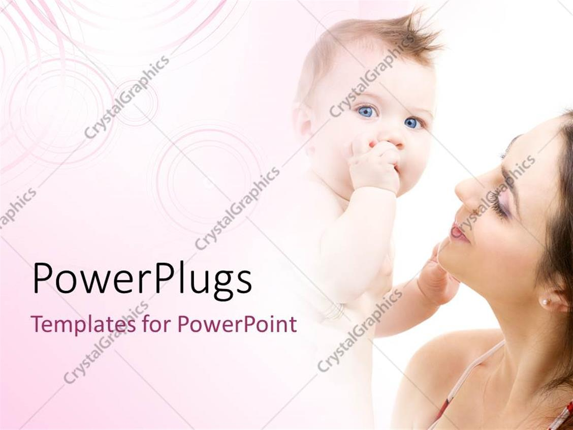 PowerPoint Template Displaying a Mother with her Child and Pinkish Background