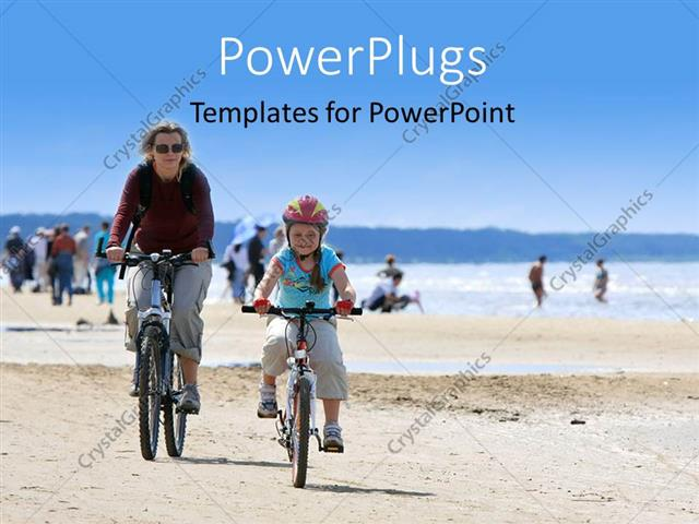 PowerPoint Template Displaying a Mother Cycling Along with her Daughter on the Beach