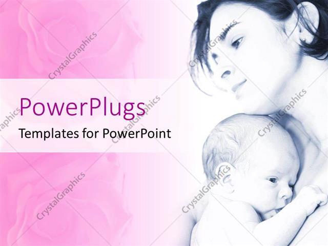 PowerPoint Template Displaying Mother Hold her Baby in Black and White Color