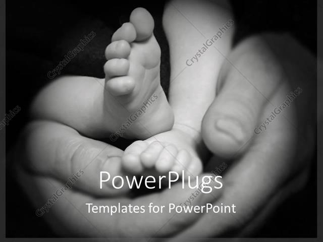 PowerPoint Template Displaying a Mother Holding the Baby Feet in her Hands