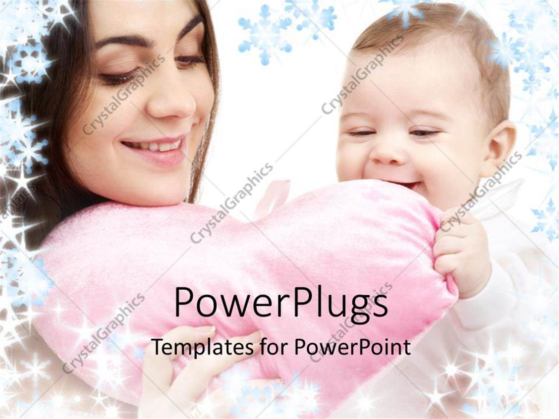 PowerPoint Template Displaying a Mother with a Kid and a Heart