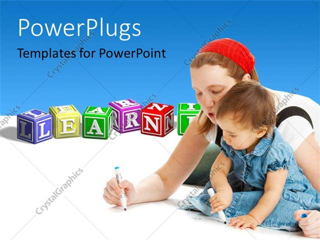 PowerPoint Template Displaying a Mother Teaching her Child and Learning Blocks with a Text that Spells Out the Word