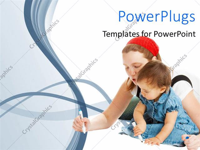 PowerPoint Template Displaying a Mother Teaching her Young Baby on a White Background