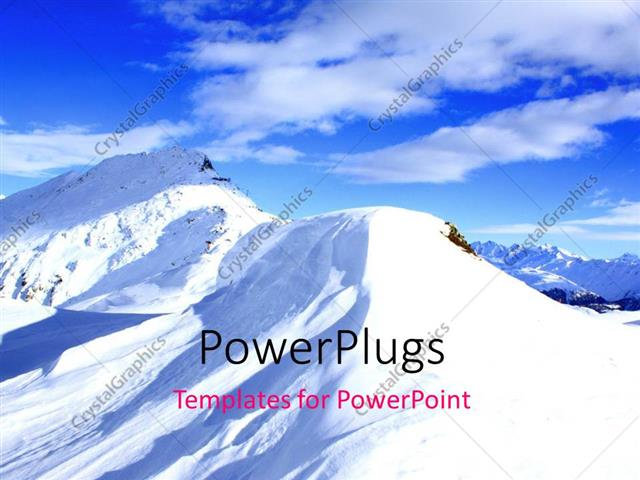 PowerPoint Template Displaying Mountains Covered in Snow with Clear Sky in the Background
