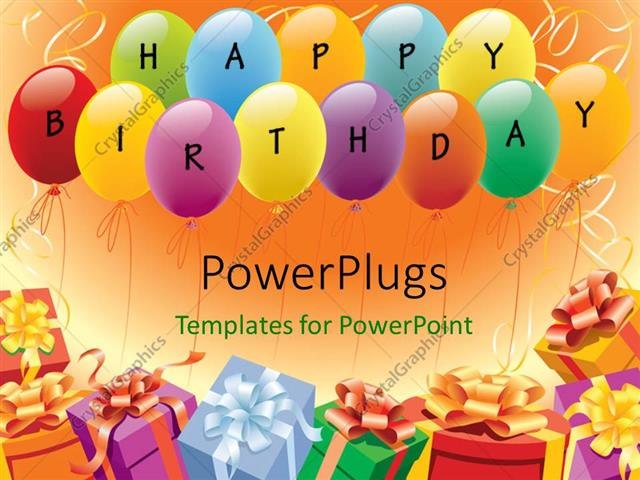 Powerpoint Template Multi Color Balloons And Gifts