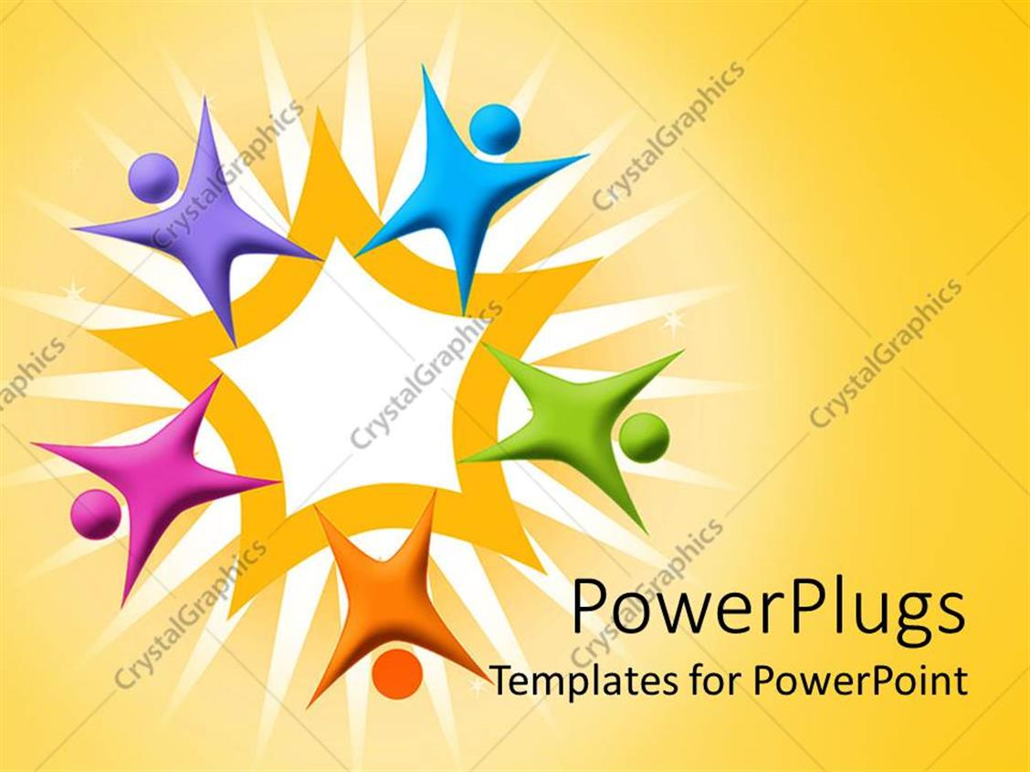 Powerpoint template multicolored figures arranged around orange powerpoint template displaying multicolored figures arranged around orange star teamwork alramifo Images