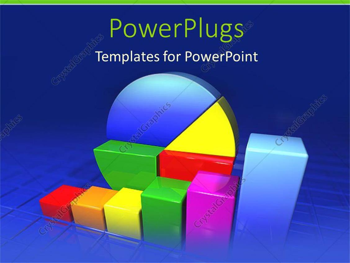Powerpoint Template Multicolored Pie Charts And Graphs Increasing