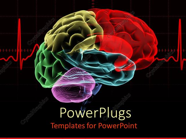 Powerpoint template multicolored x ray human brain with a red heart powerpoint template displaying multicolored x ray human brain with a red heart rate related to cranium toneelgroepblik Gallery