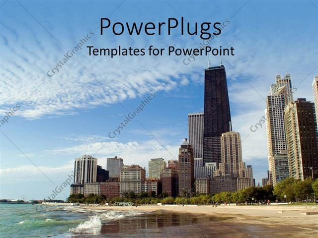 Powerpoint Template Multiple Beach Front Skyscrapers Under Blue