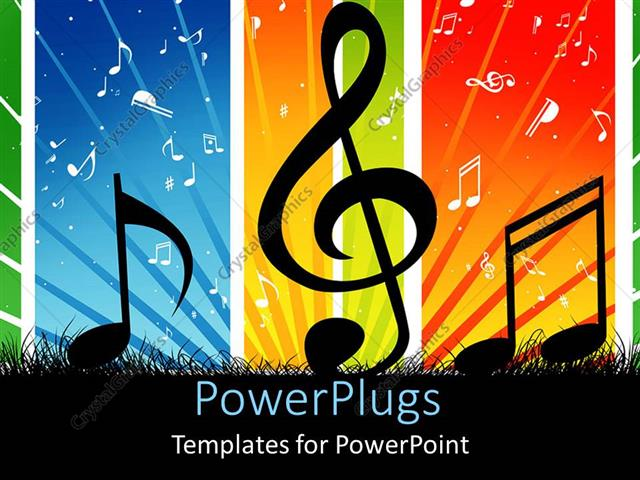 Powerpoint Template Music Themed Background With Cool Music Symbols