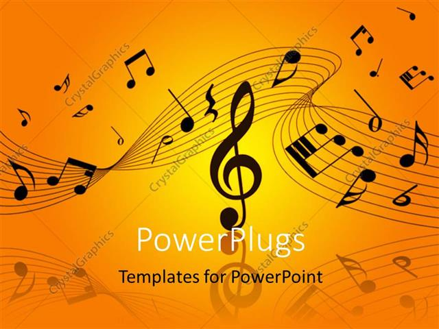 PowerPoint Template: Musical notes and symbols over orage, yellow ...