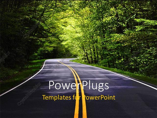 PowerPoint Template Displaying Narrow Country Road Through Heavily Wooded Rural Area