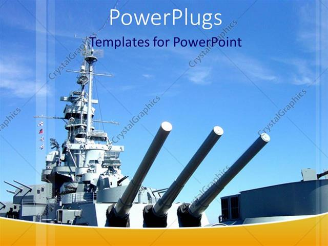 powerpoint template naval gun ship with blue sky military navy 9199