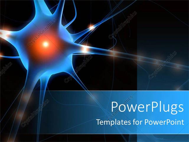 Powerpoint Template A Nerve Cell With Blackish Background And Place