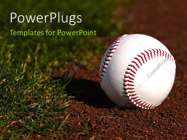 Powerpoint Template New Baseball On Red Dirt Next To Green Grass