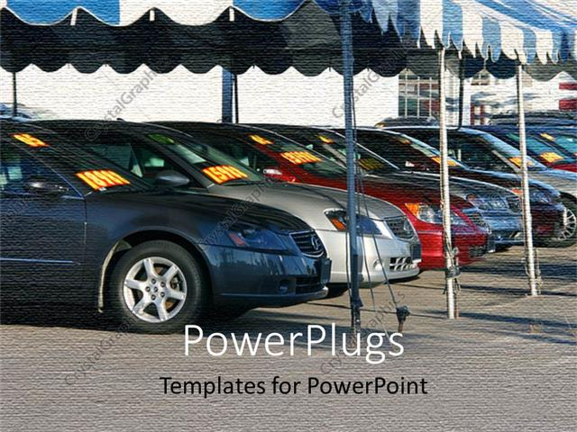 powerpoint template displaying new cars in a line under large umbrella pavilions at sports car show car