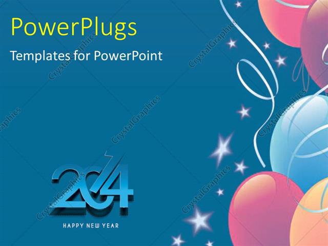 Powerpoint template new year 2014 depiction with white stars and powerpoint template displaying new year 2014 depiction with white stars and balloons on blue background toneelgroepblik Image collections