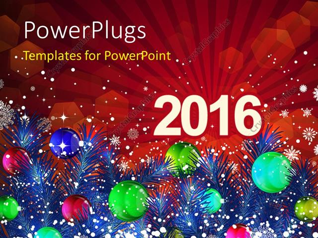 Powerpoint template new year 2016 with decoration of christmas powerpoint template displaying new year 2016 with decoration of christmas balls and snowflakes toneelgroepblik Gallery