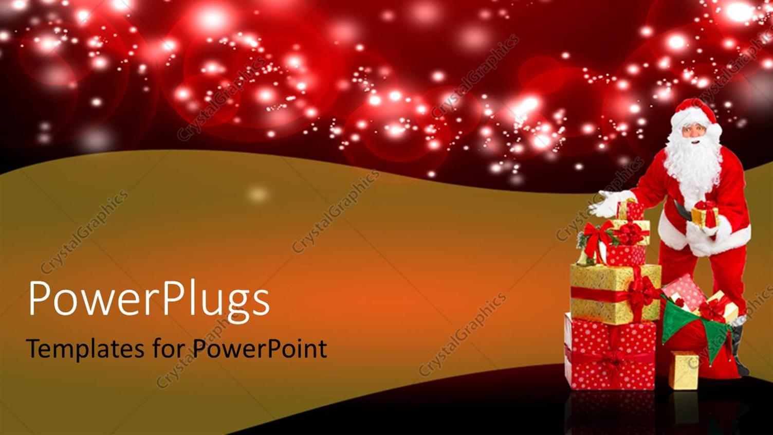 PowerPoint Template Displaying a Santa Clause Standing Beside a Stack of Gifts