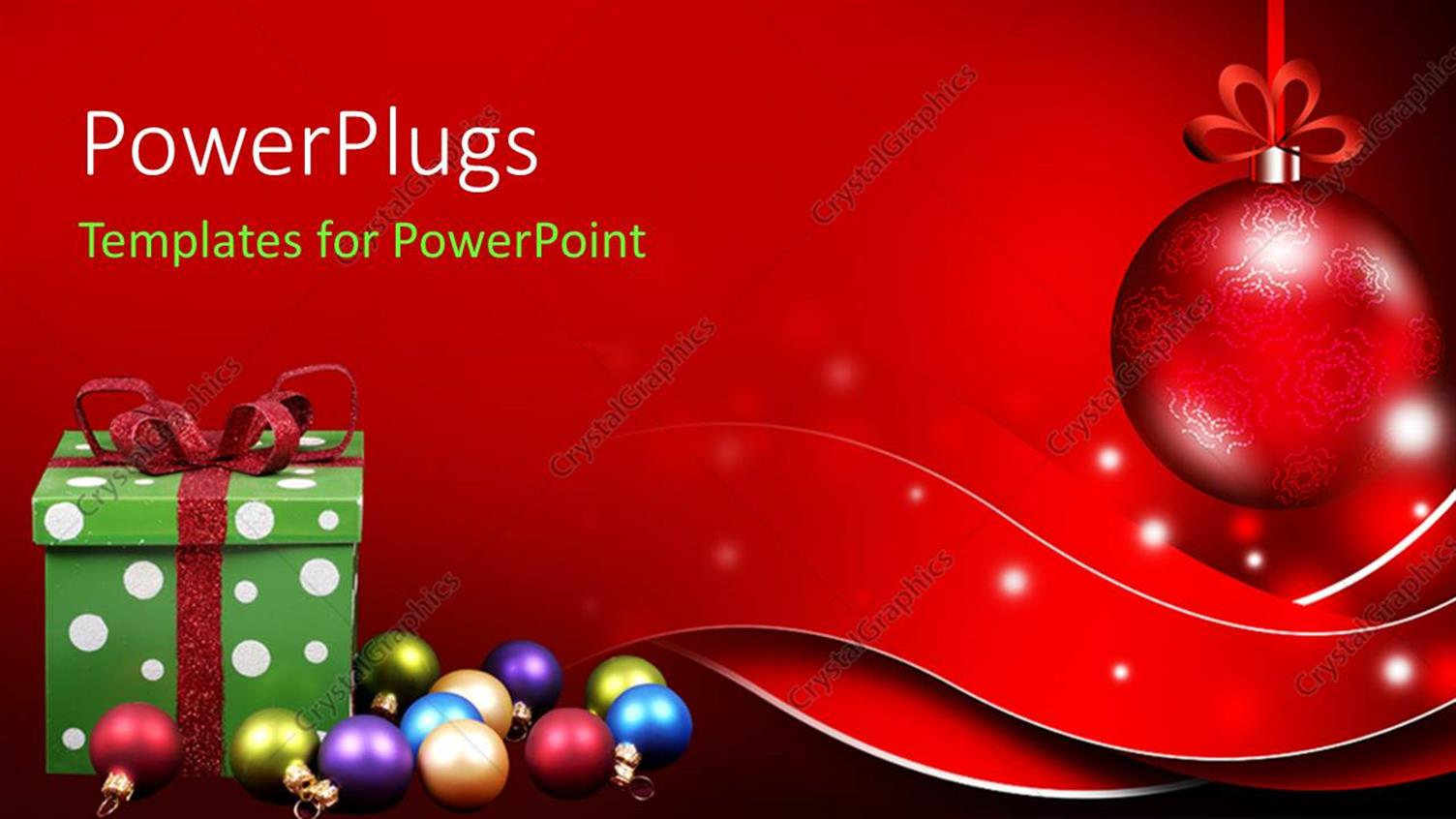 PowerPoint Template Displaying Christmas Depiction with Gift Box and Colorful Ornaments on Red Surface