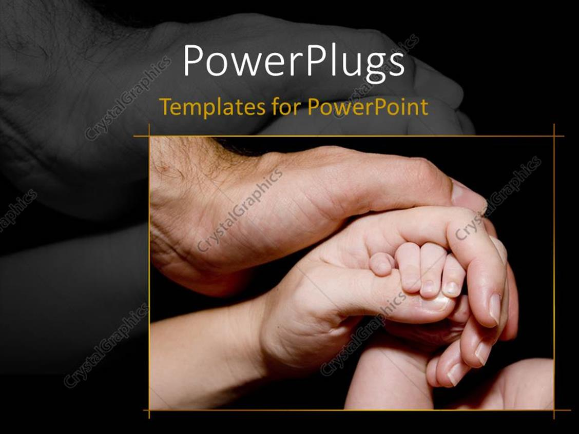 PowerPoint Template Displaying Newborn Baby Hand is Held with Love and Care by his Mother and Father, Black Color