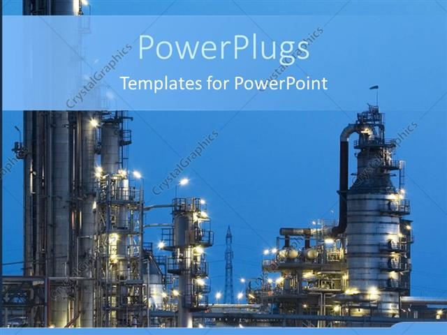 Powerpoint template night view of industry with lights on blue powerpoint template displaying night view of industry with lights on blue background toneelgroepblik Images
