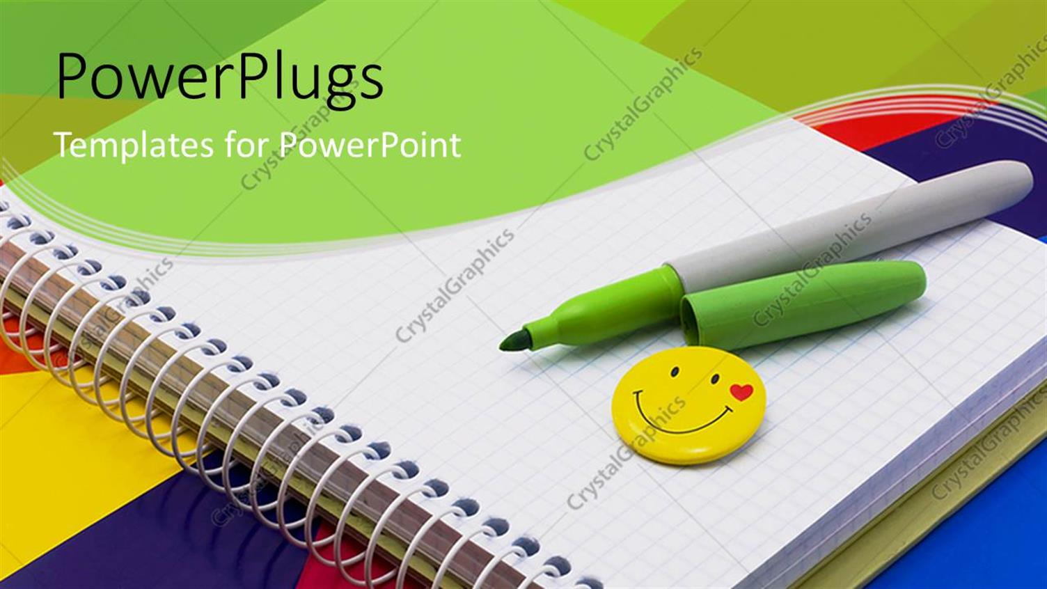 PowerPoint Template Displaying Notebook, Felt-tip Pen of Green, Badge-Smile on Multi Color Background