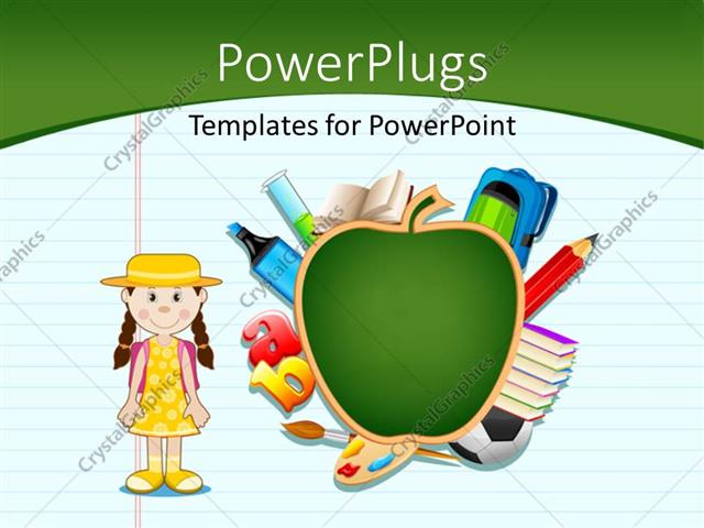 Powerpoint template notepad with artwork of green apple letters powerpoint template displaying notepad with artwork of green apple letters and cute kid toneelgroepblik Image collections