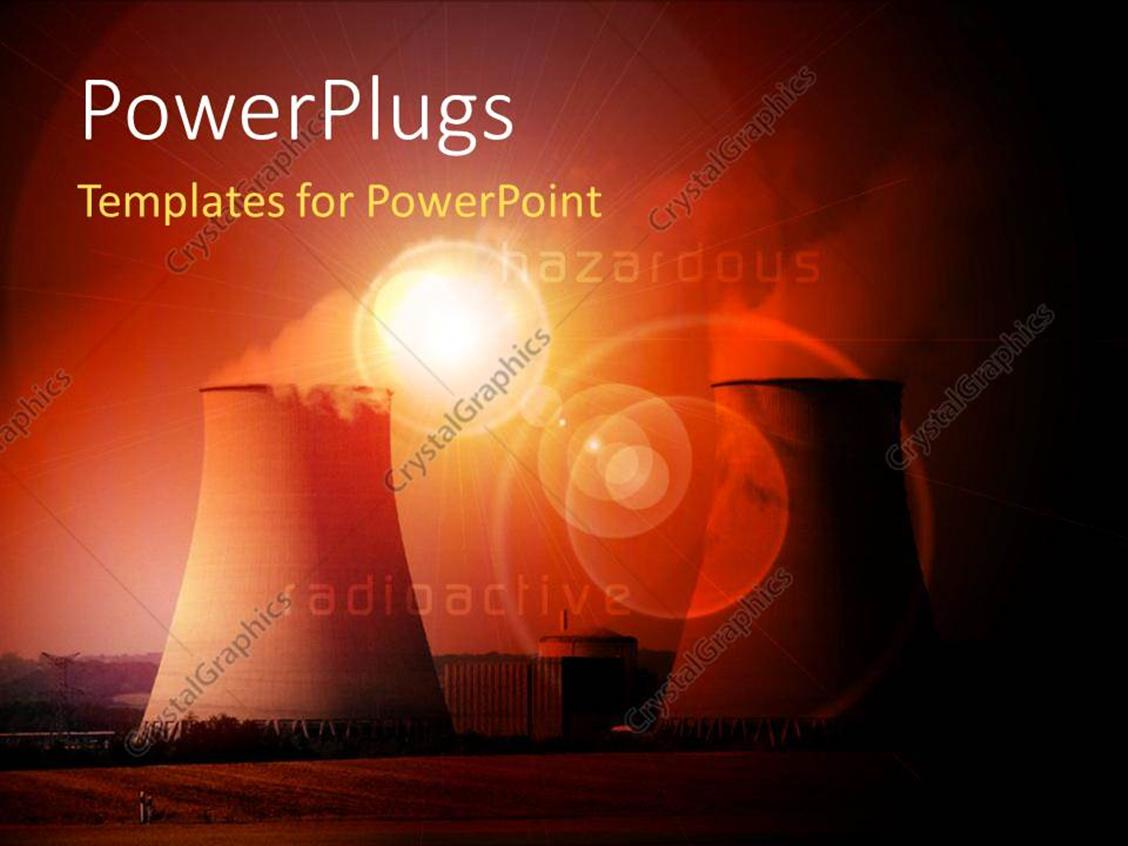Powerpoint Template Nuclear Power Station With Cooling Towers Steam Plant Diagram Ppt Displaying