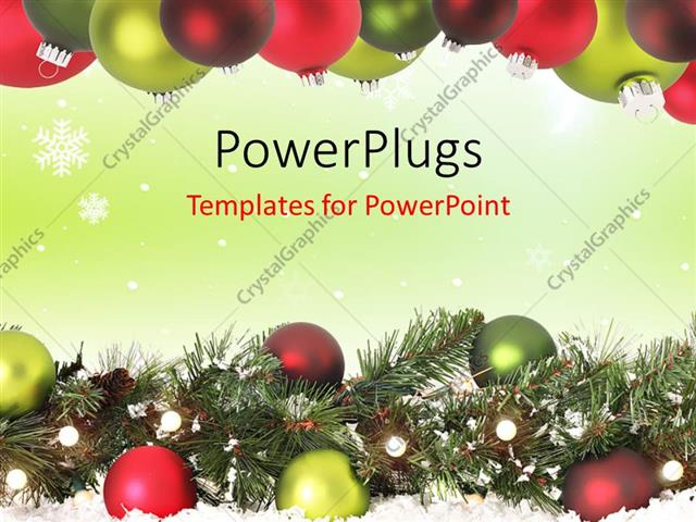 Powerpoint Template A Number Of Balls With Christmas Signs 7020