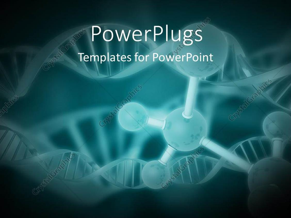 PowerPoint Template Displaying a Number of Bonds with DNA Structure and Greenish Background