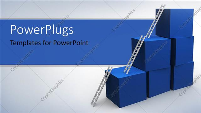 PowerPoint Template Displaying a Number of Boxes Along with Stairs with Blue and Grey Background