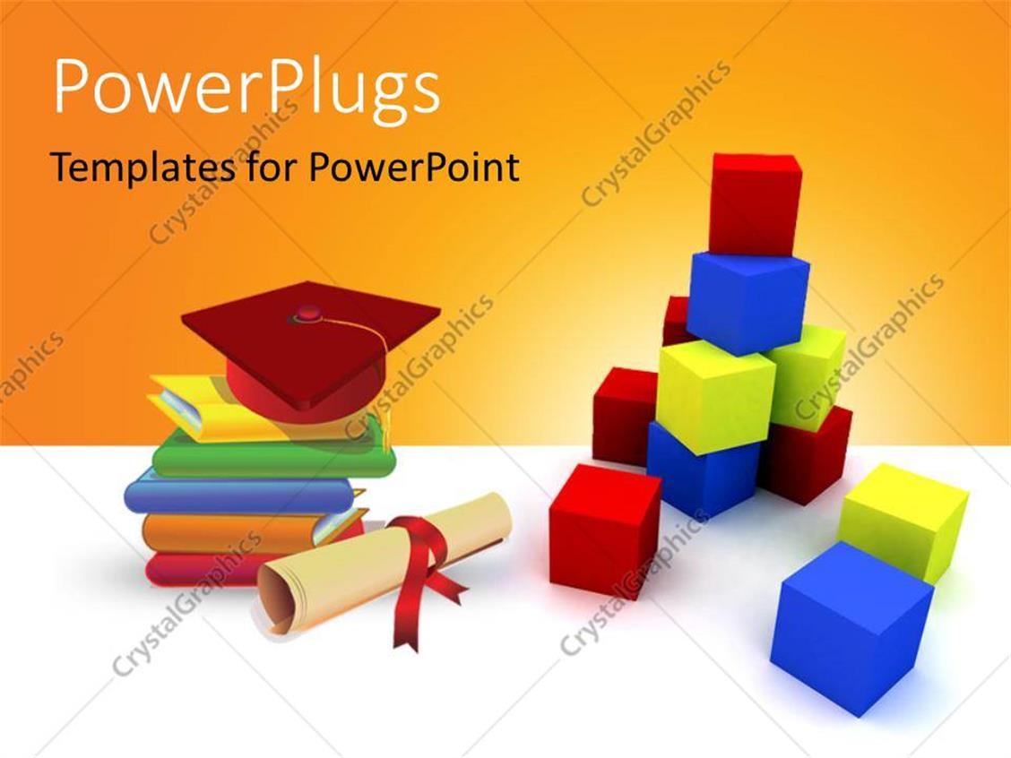 PowerPoint Template Displaying a Number of Boxes and a Graduation Degree with a Cap