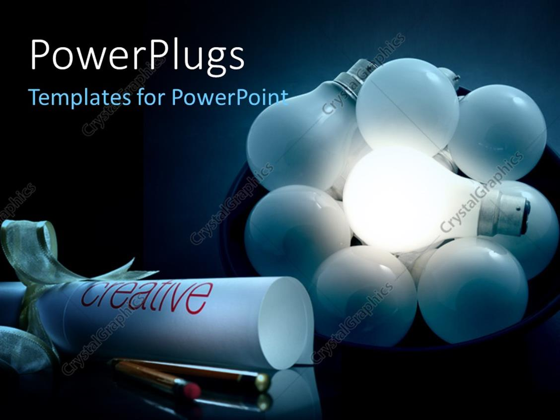 PowerPoint Template Displaying a Number of Bulbs Glowing in the Dark