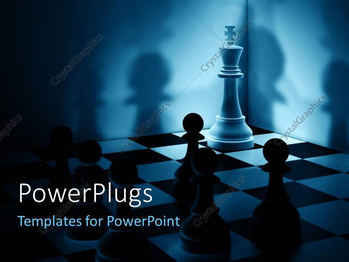 PowerPoint Template Displaying a Number of Chess Pieces with Shadows in the Background